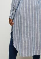 edit Plus - Ll mandarin collar shirt - blue