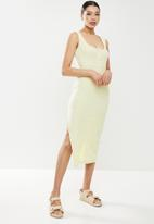Missguided - Ribbed button front midi dress - light green