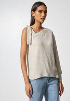 VELVET - Off shoulder cut and sew top - taupe