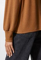 VELVET - Off shoulder cut and sew top - brown