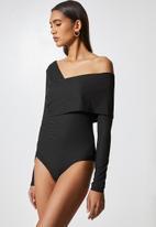 VELVET - Styled off shoulder bodysuit - black