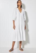 VELVET - Textured button through dropped waist midi - white