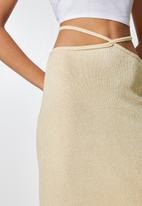 VELVET - Waist tie cut and sew pencil skirt - neutral