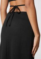 VELVET - Waist tie cut and sew pencil skirt - black