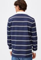 Cotton On - Rugby long sleeve polo - navy black white stripe