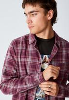 Cotton On - Washed long sleeve check shirt - dark maroon multi check