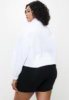 Blake - 3/4 zip cropped printed sweater - white