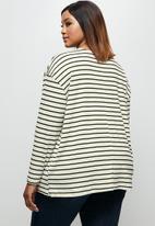 edit Plus - Striped v-neck boxy tee - black & neutral