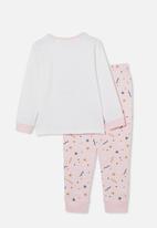 Cotton On - Florence long sleeve pyjama set - dancing sloth crystal pink
