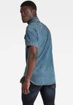 G-Star RAW - 3301 Slim short sleeve shirt - antic faded river blue painted