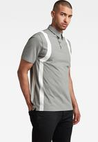 G-Star RAW - Printed stripe polo t short sleeve - charcoal