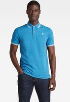 G-Star RAW - Dunda slim stripe polo short sleeve - blue
