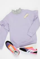 POP CANDY - Younger girls frill sleeve sweat top - purple