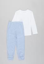 POP CANDY - Long sleeve tee & pants pj set -blue & white