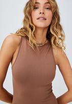 Cotton On - Junie seamless high neck tank mini dress - cocoa bean