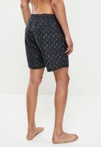 Happy Socks - Palm beach long swim shorts - black