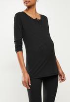 Superbalist - Long sleeve henley fitted tee - black