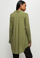 edit - Longline viscose shirt - olive