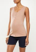 edit Maternity - Button down tank - antique pink
