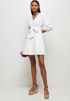 MILLA - Anglaise balloon sleeve mini dress - white