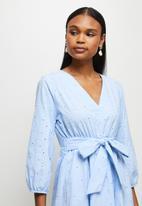MILLA - Anglaise balloon sleeve mini dress - blue