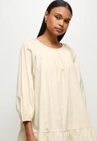 MILLA - Drop waisted gauged neck mini dress - neutral