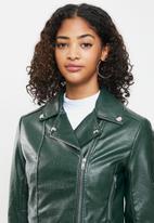 Blake - Cropped biker jacket - deep emerald