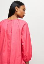 MILLA - Drop waisted gauged neck mini dress - pink