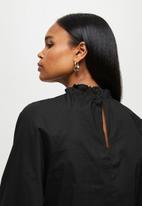 MILLA - Anglaise combo blouse - black