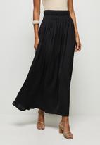 MILLA - Elasticated waist detail midaxi skirt - black