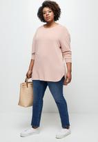 edit Plus - Longline textured tee - pink