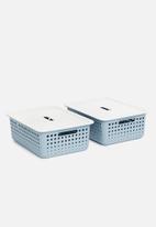 Litem - Set of 2 myroom i basket with lid small - blue
