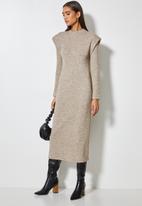 VELVET - Brushed soft touch power shoulder column midi dress - mocca melange