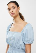 Cotton On - Woven everly short sleeve midi corset dress - wave washed blue