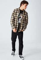 Cotton On - Washed long sleeve check shirt - black & yellow