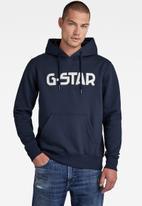 G-Star RAW - G-star hooded sweater - mazarine blue