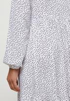 edit - Long sleeve mandarin collar tiered maxi - milk spot