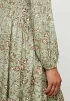edit - Long sleeve mandarin collar tiered maxi - natural floral