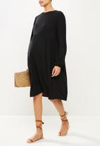 Superbalist - Tie balloon sleeve babydoll dress - black