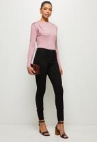 MILLA - Slinky knit bodysuit with shoulder tucks - mink