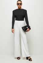 MILLA - Slinky knit bodysuit with shoulder tucks - black