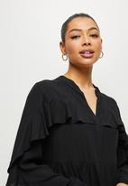 MILLA - Ruffle sleeve mini shirt - black