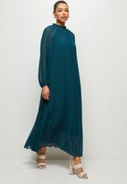 MILLA - Pleated raglan sleeve trapeze dress - blue