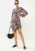 Vero Moda - Selma long sleeve short dress - wild rose