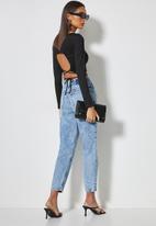 VELVET - Crop top with waist ties - black
