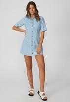 Cotton On - Woven oaklyn collar button down shirt dress - light chambray blue