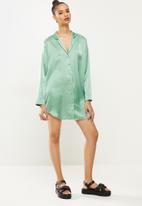 Missguided - Satin shirt dress - teal