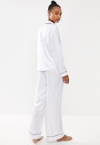 Missguided - Satin pipped trim pj set - white