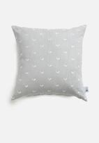 Sixth Floor - Leafy embroidered cushion cover - grey