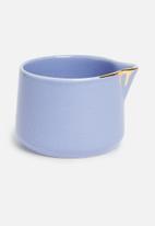 Urchin Art - Des Moines sugar pot and creamer set - sapphire & gold